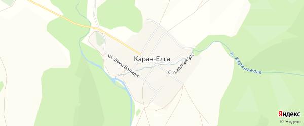 Карта деревни Карана-Елги в Башкортостане с улицами и номерами домов