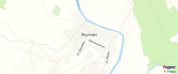 Карта деревни Якупово в Башкортостане с улицами и номерами домов