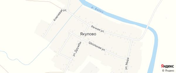 Школьная улица на карте деревни Якупово с номерами домов