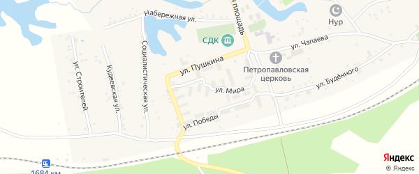 Улица Мира на карте села Кудеевского с номерами домов