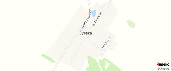 Центральная улица на карте деревни Зуевки с номерами домов