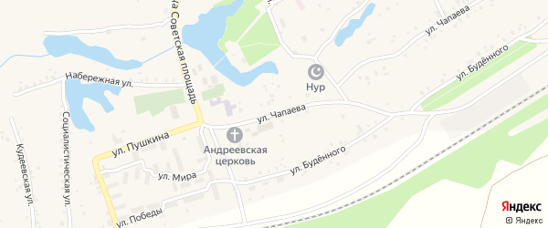 Улица Чапаева на карте села Кудеевского с номерами домов
