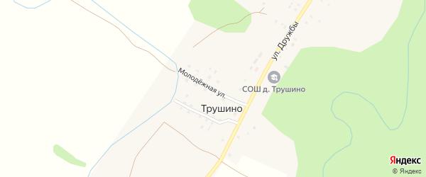 Молодежная улица на карте деревни Трушино с номерами домов