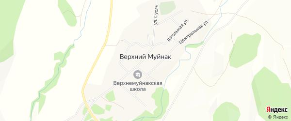 Карта деревни Верхнего Муйнака в Башкортостане с улицами и номерами домов