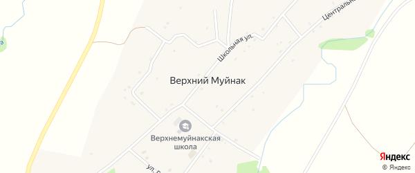 Центральная улица на карте деревни Верхнего Муйнака с номерами домов