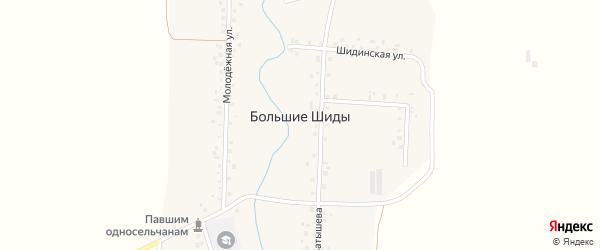 Лесная улица на карте деревни Большие Шиды с номерами домов