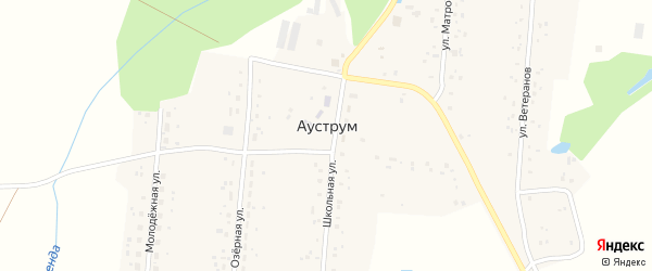 Молодежная улица на карте села Ауструма с номерами домов