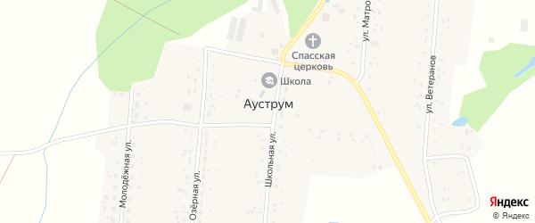 Школьная улица на карте села Ауструма с номерами домов