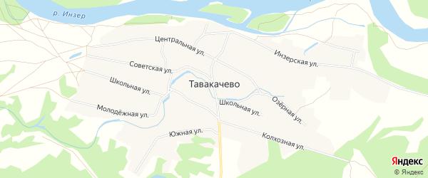 Карта деревни Тавакачево в Башкортостане с улицами и номерами домов