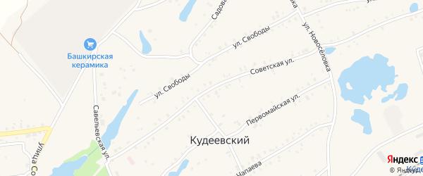 Советская улица на карте села Кудеевского с номерами домов
