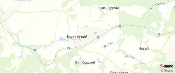 Карта Кудеевского сельсовета республики Башкортостан с районами, улицами и номерами домов