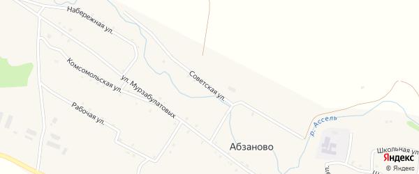 Советская улица на карте села Абзаново с номерами домов