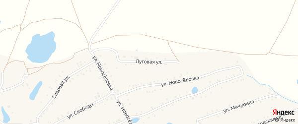 Луговая улица на карте села Кудеевского с номерами домов