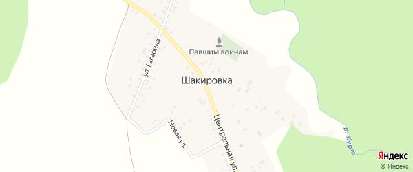 Улица Гагарина на карте деревни Шакировки с номерами домов