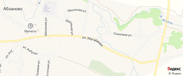 Улица Магадеева на карте села Абзаново с номерами домов