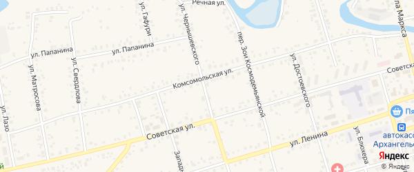 Комсомольская улица на карте Архангельского села с номерами домов