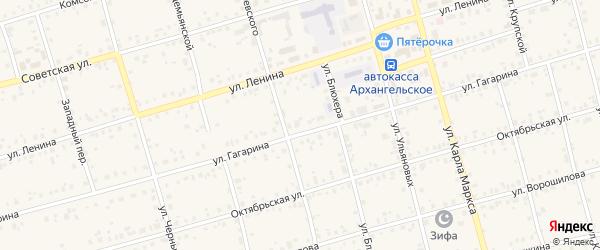 Снежная улица на карте Архангельского села с номерами домов