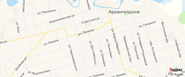 Карта Архангельского села в Башкортостане с улицами и номерами домов