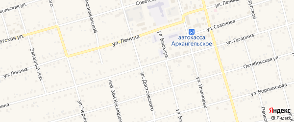 Ольховая улица на карте Архангельского села с номерами домов