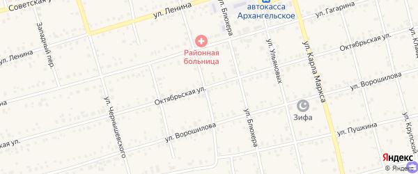Октябрьская улица на карте Архангельского села с номерами домов