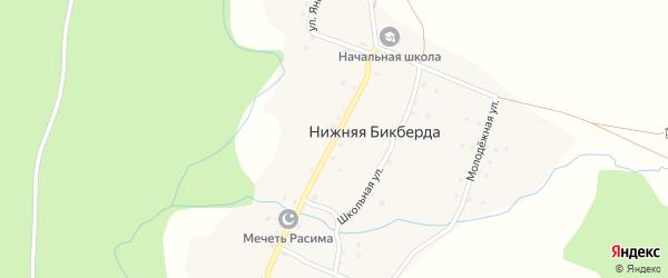 Центральная улица на карте деревни Нижней Бикберды с номерами домов