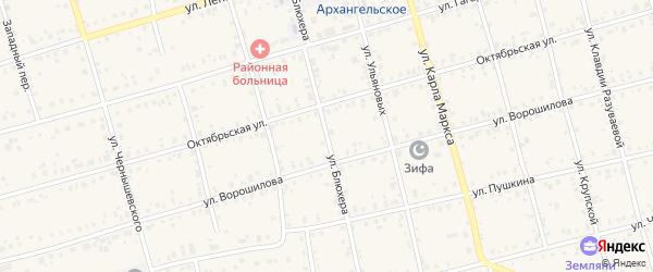 Улица Блюхера на карте Архангельского села с номерами домов