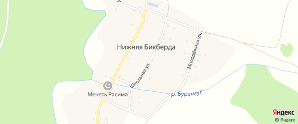 Школьная улица на карте деревни Нижней Бикберды с номерами домов