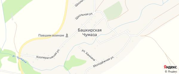 Комсомольская улица на карте деревни Башкирской Чумазы с номерами домов