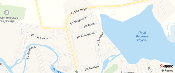 Улица Комарова на карте Архангельского села с номерами домов