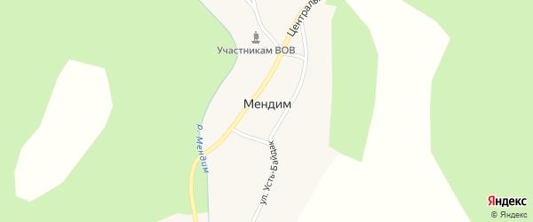 Улица Усть-Байдак на карте деревни Мендима с номерами домов