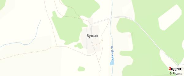 Карта деревни Бужана в Башкортостане с улицами и номерами домов