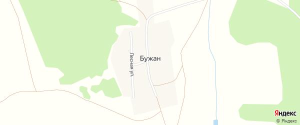 Лесная улица на карте деревни Бужана с номерами домов