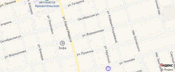 Первомайский переулок на карте Архангельского села с номерами домов
