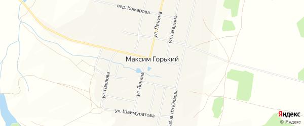 Карта деревни Максима Горького в Башкортостане с улицами и номерами домов