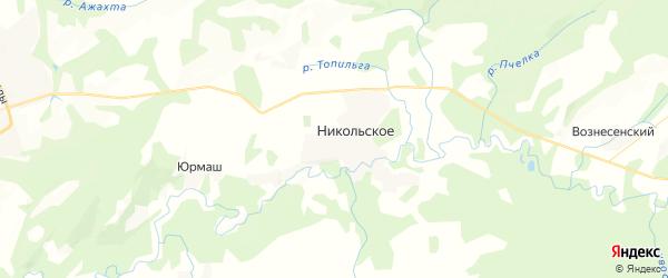 Карта Никольского сельсовета республики Башкортостан с районами, улицами и номерами домов