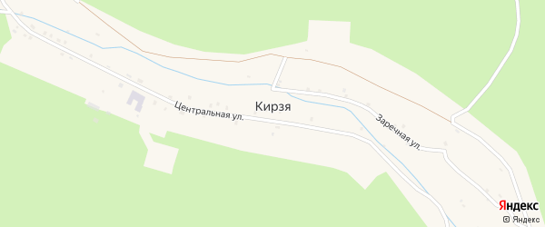 Заречная улица на карте села Кирзи с номерами домов