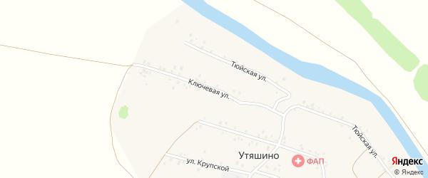 Ключевая улица на карте деревни Утяшино с номерами домов