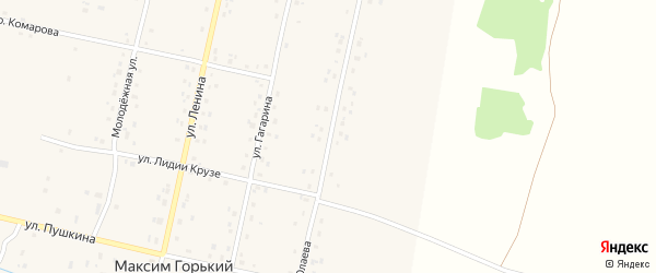 Улица С.Юлаева на карте деревни Максима Горького с номерами домов