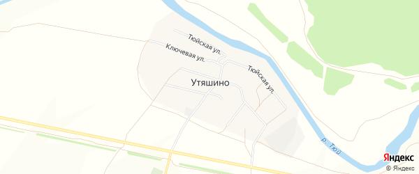 Карта деревни Утяшино в Башкортостане с улицами и номерами домов
