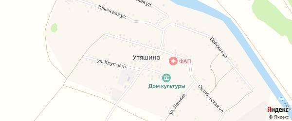 Крупская улица на карте деревни Утяшино с номерами домов