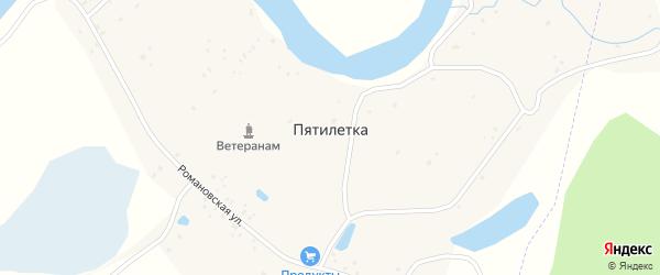 Центральная улица на карте села Пятилетки с номерами домов