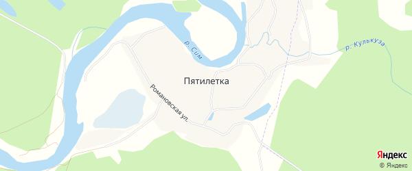Карта деревни Пятилетки в Башкортостане с улицами и номерами домов