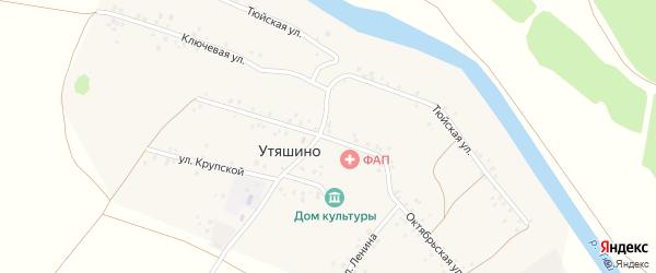 Октябрьская улица на карте деревни Утяшино с номерами домов