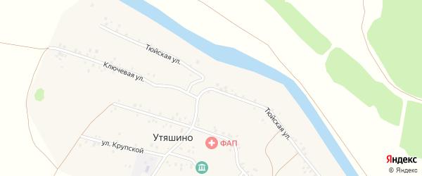 Тюйская улица на карте деревни Утяшино с номерами домов