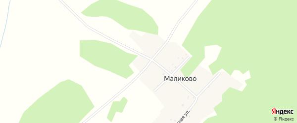 Лесная улица на карте деревни Маликово с номерами домов