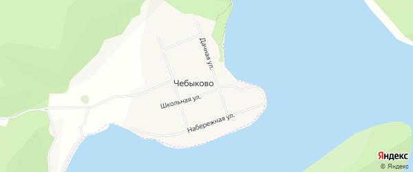 Карта деревни Чебыково в Башкортостане с улицами и номерами домов