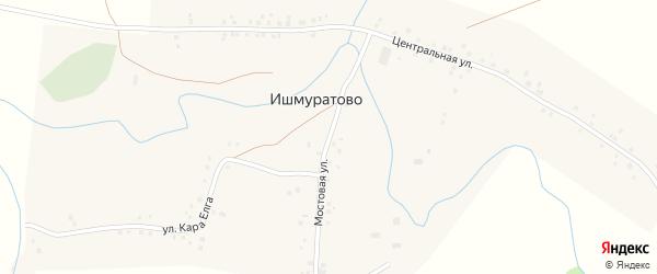 Мостовая улица на карте деревни Ишмуратово с номерами домов