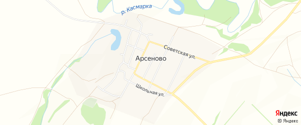 Карта села Арсеново в Башкортостане с улицами и номерами домов