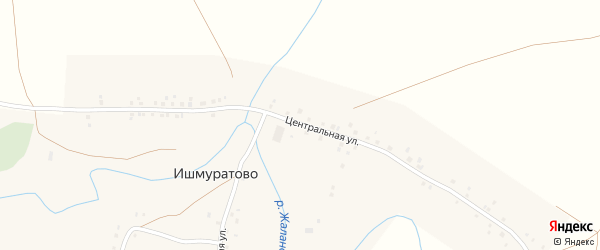 Центральная улица на карте деревни Ишмуратово с номерами домов
