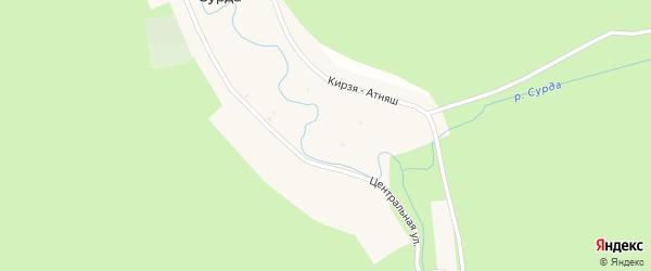 Центральная улица на карте деревни Сурды с номерами домов